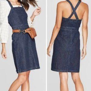 Universal Thread Fitted Denim Overall Dress Sz 4
